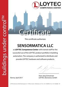 Сертификат компании Сенсорматика Центра компетенции LOYTEC в России