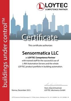 Сертификат компании Сенсорматика компетентного партнера LOYTEC в России